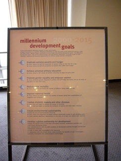 A poster at United Nations Headquarters showing Millennium Development Goals
