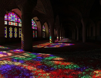Color effect – Sunlight shining through stained glass onto carpet (Nasir ol Molk Mosque located in Shiraz, Iran)