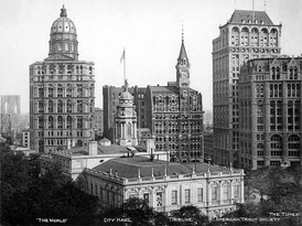 Newspaper Row, before 1903 (the original Tribune Building from 1875 in the center)