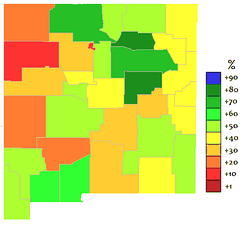 Spanish language in New Mexico by county.