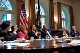 Congressional leadership meeting with then-President Obama in 2011.[325]