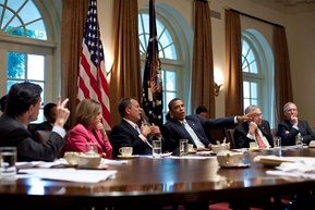 Congressional leadership meeting with then-President Obama in 2011.[326]