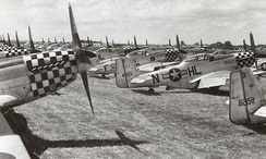 P-51D Mustangs, mostly from the 78th Fighter Group, in storage at RAF Duxford, England, Summer 1945. Most of these aircraft were returned to the United States or used by USAFE units in Germany.