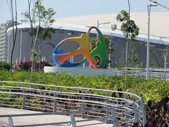 Sculpture of the logo of the Rio 2016 in Barra Olympic Park