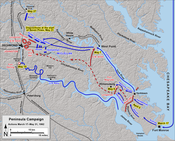 Peninsula Campaign, map of events up to the Battle of Seven Pines   Confederate   Union