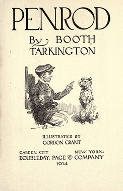 Cover page for Penrod, depicting Penrod Schofield and his dog Duke (1914)