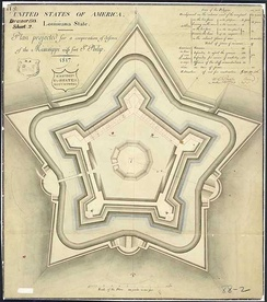 An 1817 plan for the fort that would become Fort Jackson in support of Fort St. Philip.