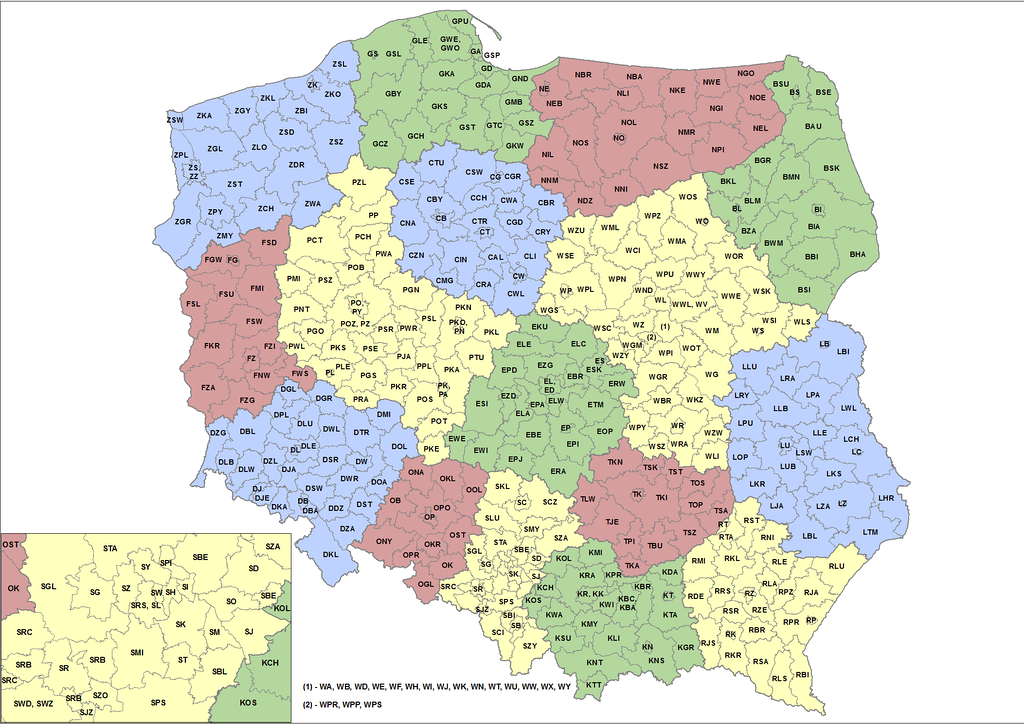 Letters on Polish license plates according to districts County