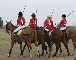 Girls and their horses preparing for a polo game