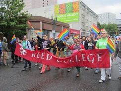 Reed College students, faculty, and staff marching in Portland Pride 2014