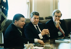Muskie with Ronald Reagan and John Tower discussing the Tower Commission