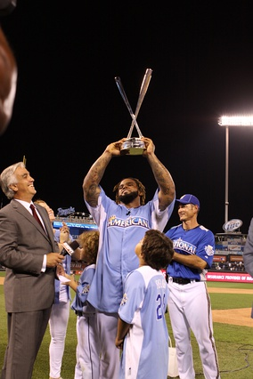 Prince Fielder accepting his second trophy in 2012