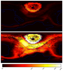 VOACAP simulation of propagation against distance, comparing effective radiations of 1 watt (top) and 99 watts (bottom).