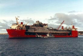RFA Sir Tristram being carried home after the war by MV Dan Lifter