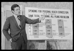 Kennedy giving a presentation on his healthcare proposal in June 1971