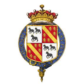 Shield of arms of Anthony Ashley-Cooper, 7th Earl of Shaftesbury, as displayed on his Order of the Garter stall plate, viz. quarterly 1st and 4th, argent three bulls passant sable armed and unguled or, for Ashley; 2nd and 3rd, gules a bend engrailed between six lions rampant or, for Cooper.