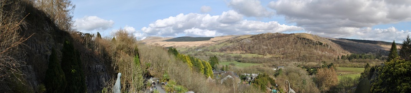 Panoramic view of dinosaur park in the Brecon Beacons National Park