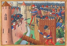 The first Western image of a battle with cannon: the Siege of Orléans in 1429.
