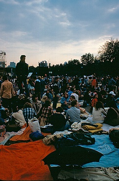 "The audience waits on the ""Great Lawn"" for the concert's beginning"
