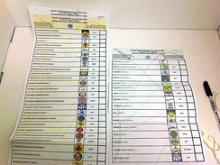 Two ballot papers from the 2011 South African municipal election in Cape Town. The ballot on the left is for the party-list proportional representation vote for the Cape Town City Council and the ballot on the right is for the election of the local councillor in Ward 59.