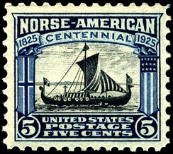 A 1925 U.S. postage stamp featuring the ship Viking honoring the 100th anniversary of Norwegian immigration.