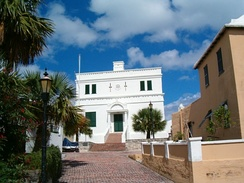 The State House in St. George's, Bermuda. Settled in 1612, the town is the oldest continuously-inhabited English town in the New World.