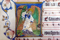 St. Michael weighing souls during the Last Judgement, Antiphonale Cisterciense (15th century), Abbey Bibliotheca, Rein Abbey, Austria