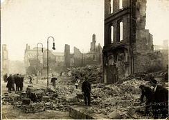 Workers clearing rubble on St Patrick's street following the Burning of Cork.