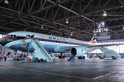 The Spirit of Delta in restoration hangar.