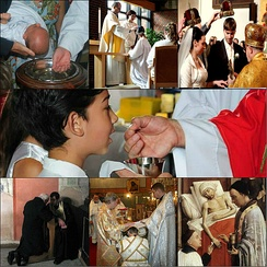 The seven sacraments of the Catholic church: Baptism, Confirmation, Matrimony, Eucharist, Penance, Holy Orders and the Anointing of the Sick