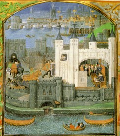 One of the powerful French magnates held in the Tower during the Hundred Years' War was Charles, Duke of Orléans, the nephew of the King of France. This late 15th-century image is the earliest surviving non-schematic picture of the Tower of London. It shows the White Tower and the water-gate, with Old London Bridge in the background.[97]
