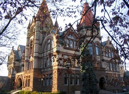 Old Vic, the main building of Victoria College, typifies the Richardsonian Romanesque style.