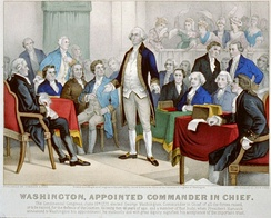 Currier and Ives lithograph depicting Washington's appointment as commander in chief of the Continental Army in 1775