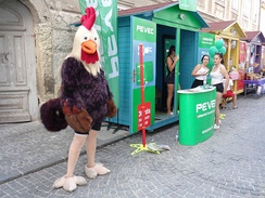 Rooster is the mascot for a company in Croatia