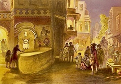 "William Simpson labelled his chromolithograph of 1867 CE as ""Dewali, feast of lamps"". It showed streets lit up at dusk, with a girl and her mother lighting a street corner lamp.[62]"