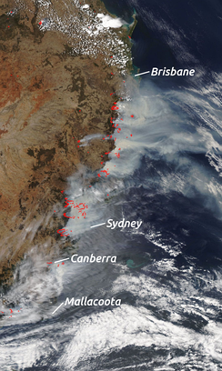 NASA satellite imagery on 7 December 2019, overlaid with markers showing bushfires across the east coast of Australia