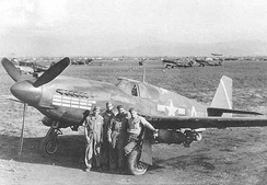 "A-36 of the 86th Bombardment Group (Dive), ""284067"" coded A, lost to flak, 14 January 1944.[18]"