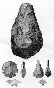 Acheulean hand-axes from Kent. Homo erectus flint work. The types shown are (clockwise from top) cordate, ficron and ovate.