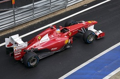 Fernando Alonso's Ferrari F150 Italia in the pit lane, in the Formula One 2011 British Grand Prix