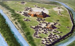 Artists conception of the Angel Mounds site