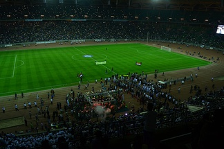 Basra International Stadium during the second opening friendly match between Al-Zawraa and Zamalek in 2013.