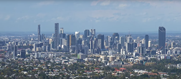 Daytime skyline of Brisbane's central business district from Mount Coot-tha, 2017
