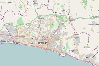 Map of Brighton and Hove showing churchyards and chapel burial grounds (blue) and cemeteries (red). Hover over points to see their name.