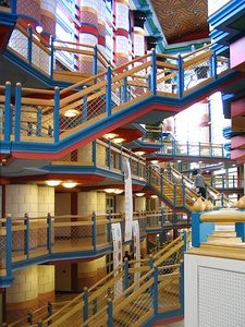 Color. Interior of Cambridge Judge Business School in Cambridge, UK by John Outram (1995)