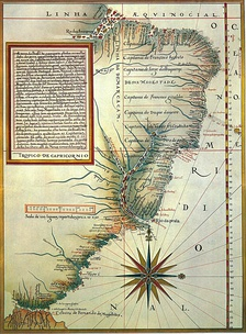 Portuguese map (1574) by Luís Teixeira, showing the location of the hereditary captaincies of Brazil.