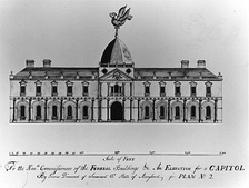 "Design for the U.S. Capitol, ""An Elevation for a Capitol"", by James Diamond was one of many submitted in the 1792 contest, but not selected."