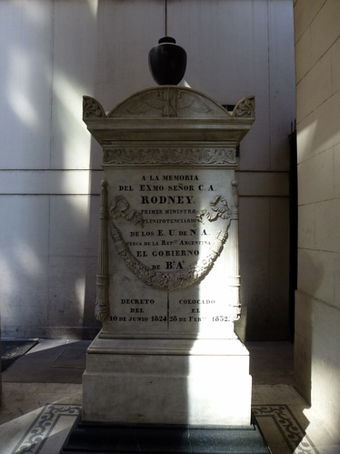 "located at the Anglican Cathedral of St. John the Baptist at Buenos Aires, it reads ""In memory of the Most Excellent Mister C. A. Rodney. The first Minister Plenipotentiary of the United States of North America close to the Argentine Republic. The Government of Buenos Aires, Decree of June 10, 1824 – Placed on February 28, 1832."" (the church was completed in 1831, is the oldest non-Catholic church building in South America[3])"