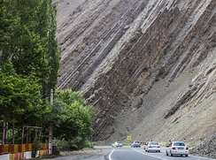 Steeply dipping sedimentary rock strata along the Chalous Road in northern Iran