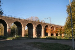 The 18-arch Victorian Railway Viaduct that carries the Great Eastern Main Line through Central Park.