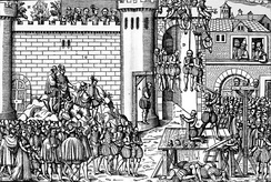 Contemporary woodcut of the executions of Protestants at Amboise